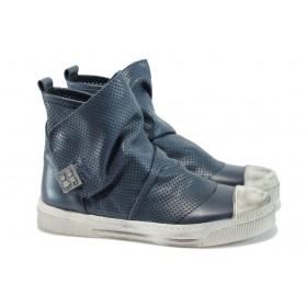 Дамски кецове - естествена кожа - сини - EO-8237