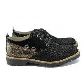 Равни дамски обувки - естествена кожа - черни - EO-8256