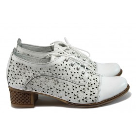 Дамски обувки на среден ток - естествена кожа - бели - EO-8260
