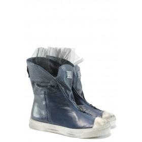 Дамски обувки на среден ток - естествена кожа - сини - EO-8261