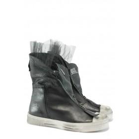 Дамски обувки на среден ток - естествена кожа - сини - EO-8262