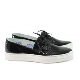 Равни дамски обувки - естествена кожа - черни - EO-8272