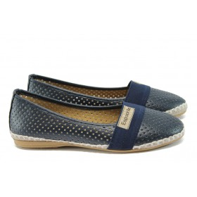 Равни дамски обувки - висококачествена еко-кожа - тъмносин - EO-8316