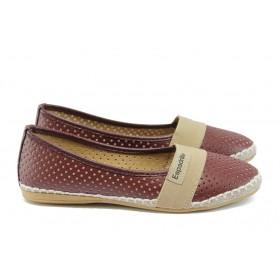 Равни дамски обувки - висококачествена еко-кожа - бордо - EO-8317