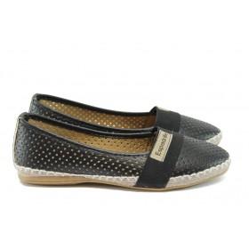 Равни дамски обувки - висококачествена еко-кожа - черни - EO-8318