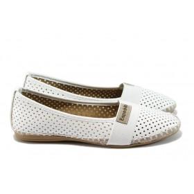 Равни дамски обувки - висококачествена еко-кожа - бели - EO-8328