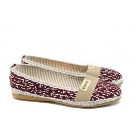 Равни дамски обувки - висококачествен текстилен материал - бордо - EO-8319