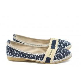 Равни дамски обувки - висококачествен текстилен материал - тъмносин - EO-8320