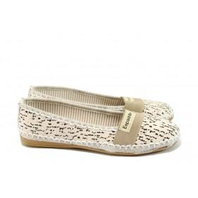 Равни дамски обувки - висококачествен текстилен материал - бежови - EO-8321