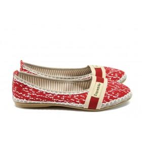 Равни дамски обувки - висококачествен текстилен материал - червени - EO-8322