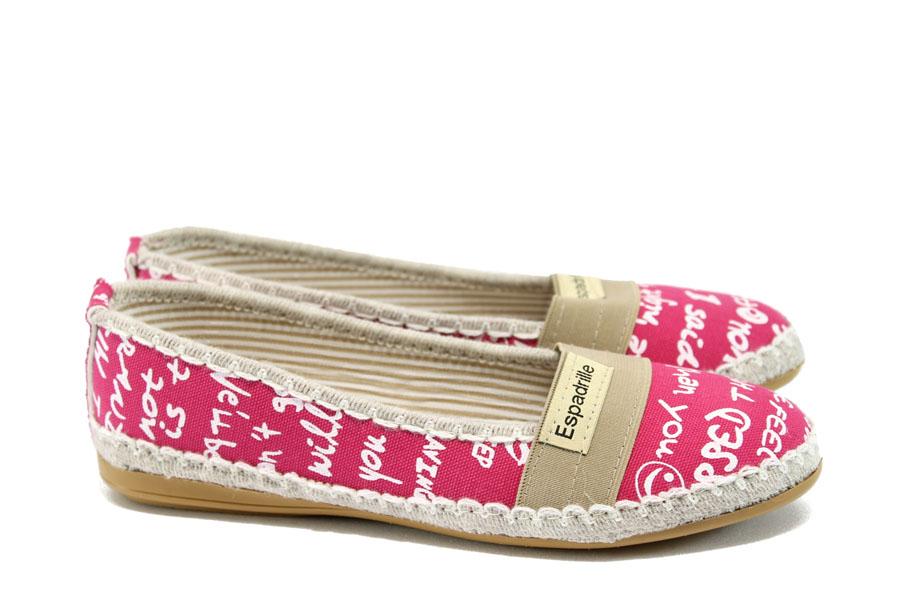 Равни дамски обувки - висококачествен текстилен материал - розови - EO-8323