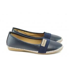 Равни дамски обувки - висококачествена еко-кожа - тъмносин - EO-8324