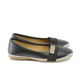 Равни дамски обувки - висококачествена еко-кожа - черни - EO-8325