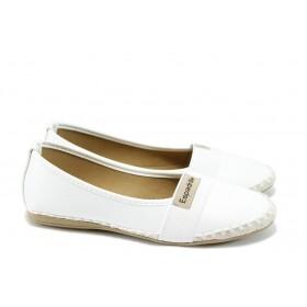 Равни дамски обувки - висококачествена еко-кожа - бели - EO-8327