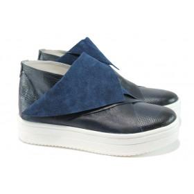 Равни дамски обувки - естествена кожа - сини - EO-8329