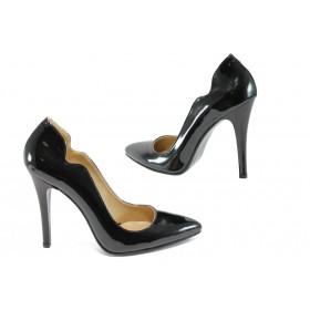 Дамски обувки на висок ток - висококачествена еко-кожа - черни - EO-8360