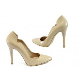 Дамски обувки на висок ток - висококачествена еко-кожа - бежови - EO-8373