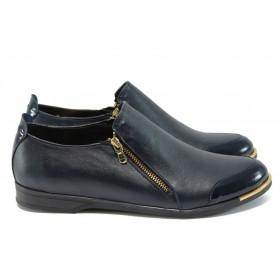 Равни дамски обувки - естествена кожа - сини - EO-8363
