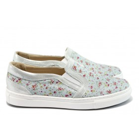 Равни дамски обувки - естествена кожа - сиви - EO-8397