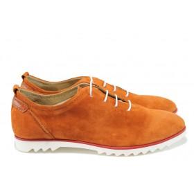 Равни дамски обувки - естествен велур - оранжеви - EO-8398