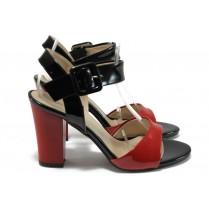 Дамски сандали - еко кожа-лак - червени - EO-8415