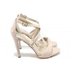 Дамски сандали - еко кожа-лак - розови - EO-8418