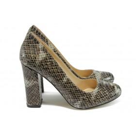 Дамски обувки на висок ток - висококачествена еко-кожа - кафяви - EO-8441