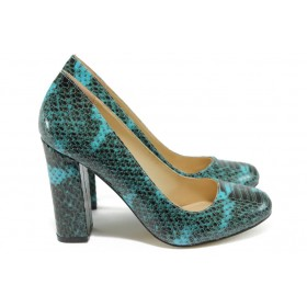 Дамски обувки на висок ток - висококачествена еко-кожа - сини - EO-8442