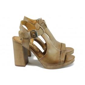 Дамски сандали - естествена кожа - бежови - EO-8443