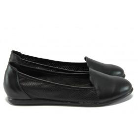 Равни дамски обувки - естествена кожа - черни - EO-8453