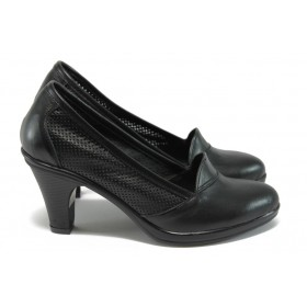 Дамски обувки на висок ток - естествена кожа - черни - EO-8454
