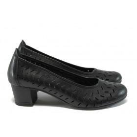 Дамски обувки на среден ток - естествена кожа - черни - EO-8489