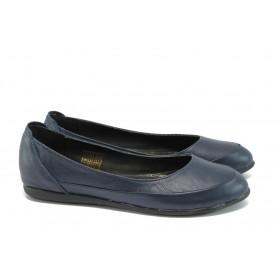 Равни дамски обувки - естествена кожа - сини - EO-8491