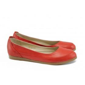 Равни дамски обувки - естествена кожа - червени - EO-8492