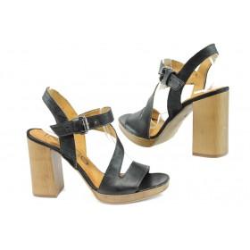 Дамски сандали - естествена кожа - черни - EO-8496