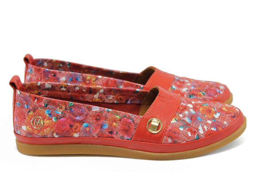Равни дамски обувки - естествена кожа - червени - EO-8499