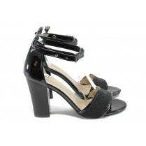 Дамски сандали - висококачествена еко-кожа - черни - EO-8500