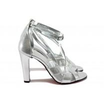 Дамски сандали - висококачествен еко-велур - сребро - EO-8501