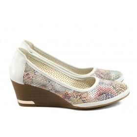 Дамски обувки на платформа - естествена кожа - бели - EO-8505