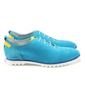 Равни дамски обувки - естествена кожа - сини - EO-8538
