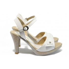 Дамски сандали - висококачествена еко-кожа - бели - EO-8510