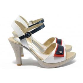 Дамски сандали - висококачествена еко-кожа - бели - EO-8511