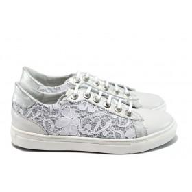 Дамски спортни обувки - естествена кожа в съчетание с текстил - бели - EO-8540