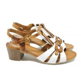 Дамски сандали - естествена кожа - бели - EO-8527