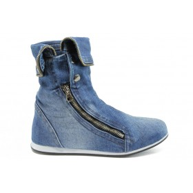 Летни боти - висококачествен текстилен материал - сини - EO-8523