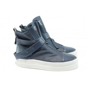 Дамски кецове - естествена кожа - сини - EO-8541