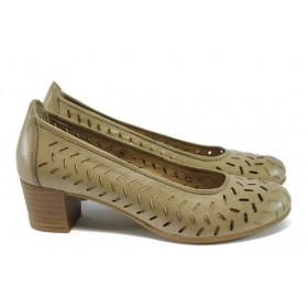 Дамски обувки на среден ток - естествена кожа - бежови - EO-8509