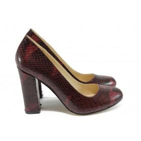 """Дамски обувки на висок ток - еко-кожа с """"кроко"""" мотив - бордо - EO-8508"""