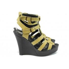 Дамски сандали - естествена кожа - жълти - EO-8544