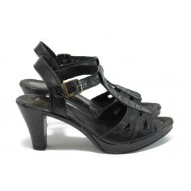 Дамски сандали - естествена кожа - черни - EO-8545